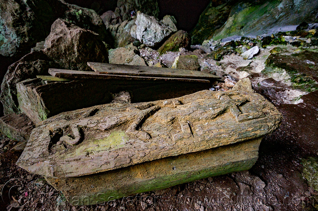 geckos carved on ancient coffin - lumiang cave - sagada (philippines), burial cave, cemetery, coffins, geckos, grave, lumiang cave, natural cave, philippines, sagada, tomb, wood carving