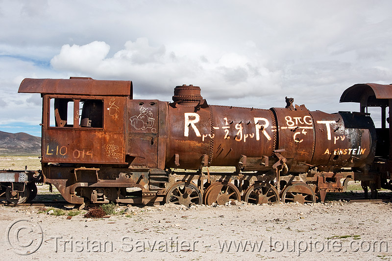 general relativity - einstein field equations - graffiti on steam locomotive, abandoned, efe, enfe, equation, fca, general relativity, graffiti, physics, railroad, railway, rusted, rusty, science, scrapyard, steam engine, steam locomotive, steam train engine, train cemetery, train graveyard, train junkyard, uyuni