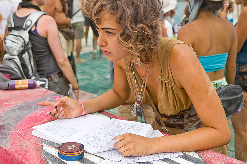 genevieve liberté - burning man 2013, dorothy of the cosmos, genevieve liberté, page, paper, short story, woman, writing