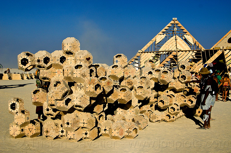 geometrical modular sculpture near the temple - burning man 2013, modules, temple of whollyness, wooden sculpture