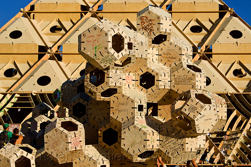 geometrical modules near the temple - burning man 2013, burning man, modular, modules, temple of whollyness, wooden sculpture