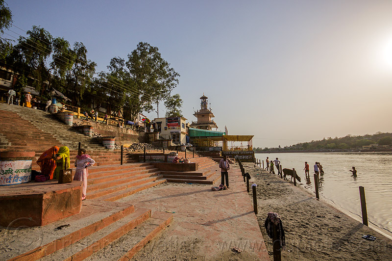 ghat on ganges river in rishikesh (india), bathing, ganga, ganga river, ghats, people, stairs, steps, water
