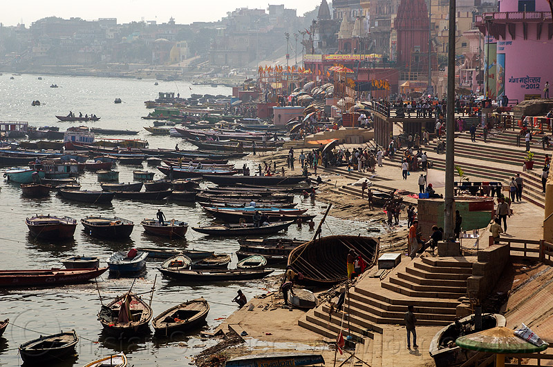 ghats and boats on ganges river - varanasi (india), ganga, ganges river, ghats, hindu, hinduism, india, main ghat, mooring, river bank, river boats, steps, varanasi