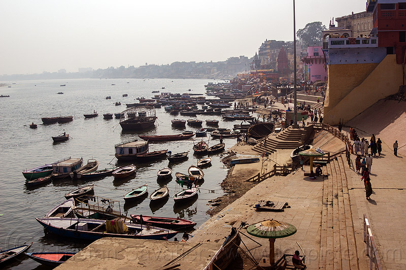ghats and boats on ganges river - varanasi (india), ganga, ganges river, ghats, hindu, hinduism, india, mooring, river bank, river boats, varanasi