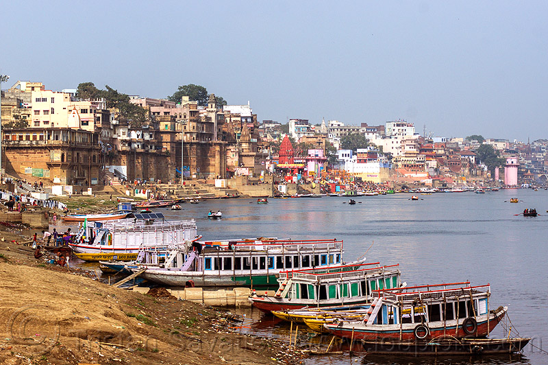 ghats of varanasi along the ganges river (india), buildings, ganga river, ganges river, ghats, mooring, river bank, river boats, rowing boats, sailing, small boats, varanasi, water