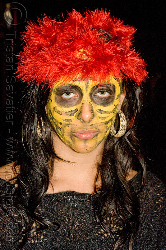 ghostship halloween party on treasure island (san francisco), costume, face painting, facepaint, ghostship 2009, halloween, rave party, skull makeup, space cowboys, woman