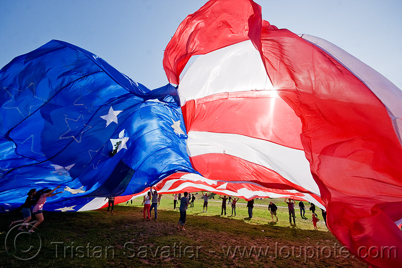 giant american flag - dolores park (san francisco), giant flag, people, the flag project, us flag