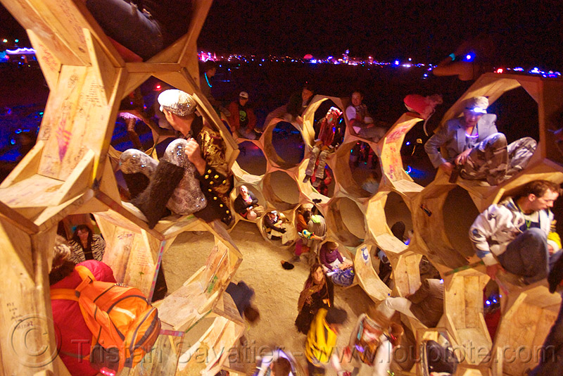 giant bee hive - the honey trap - burning man 2010, alveoles, animus, bee hive, burning man, honey trap, night, sculpture