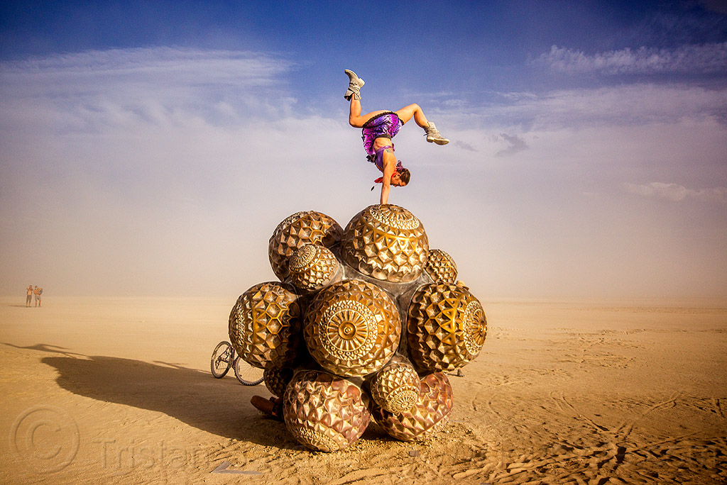 giant bronze molecules - mars molecule - burning man 2015, art installation, bronze, burning man, handstand, mars molecule, metal, sculpture, woman