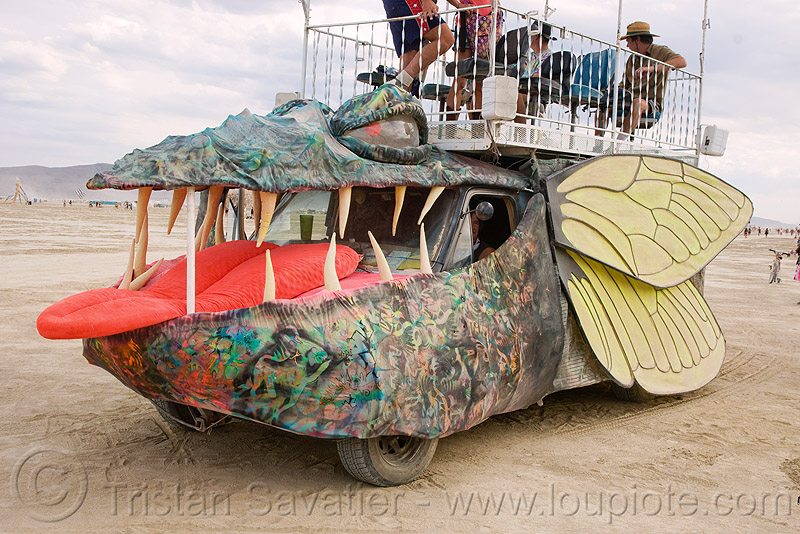 giant cicada art car - burning man 2009, art car, barry costello, burning man, giant cicada, shuttle bug, todd andrews
