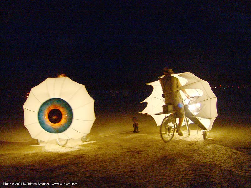 giant eyes - bicycles - burning-man 2004, art, bikes, burning man, night