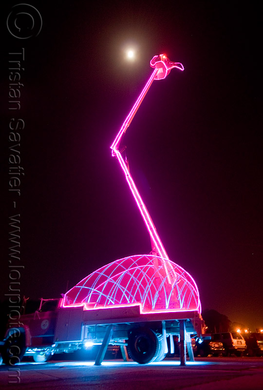 giant pink flamingo - ghostship halloween party on treasure island (san francisco), aerial lift, art, boom lift, cherry picker, crane, full moon, ghostship 2009, glowing, halloween, hydraulic, lorry, night, pink flamingo, rave party, space cowboys, truck