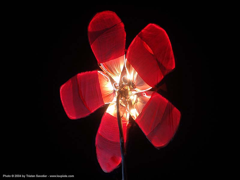 giant red flower - burning-man 2004, art, burning man, night, red flower
