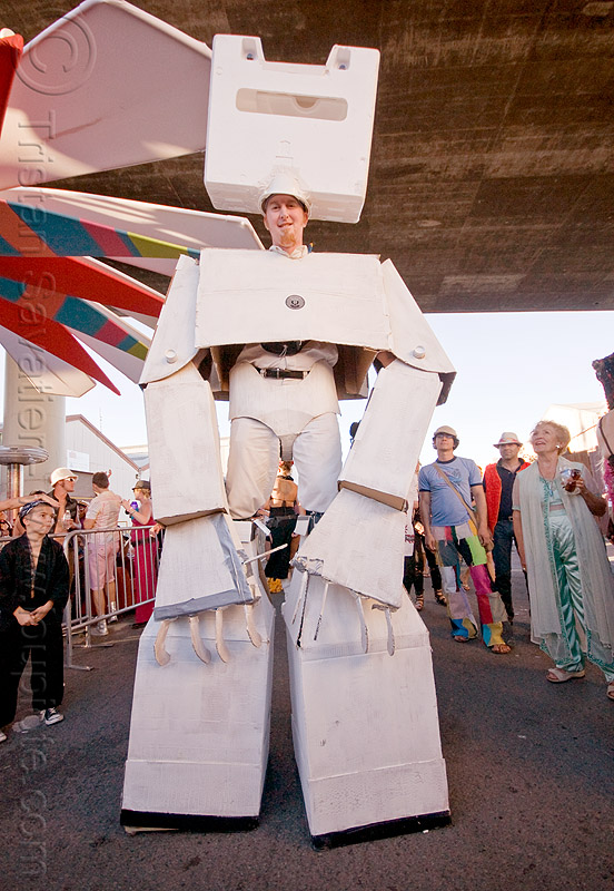 giant robot cardboard costume, costume, man, robot