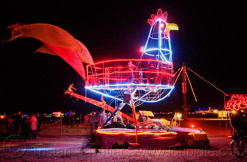 giant rooster art car by loki - burning man 2009, chicken, chicken car, night