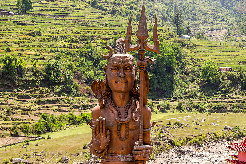 giant shivji statue in pilot baba ashram near bhagirathi river (india), bhagirathi valley, deity, hinduism, sculpture, trident