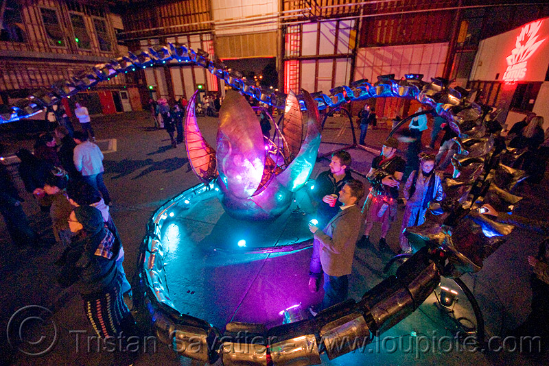 giant snake skeleton animated sculpture - opulent temple massive rave party (treasure island, san francisco) - serpent mother, art, art installation, egg, flaming lotus girls, night