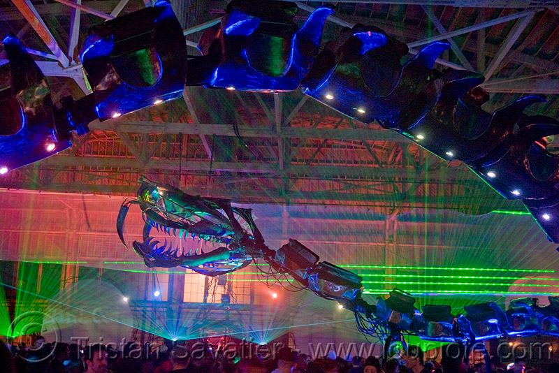giant snake skeleton animated sculpture - opulent temple massive rave party (treasure island, san francisco) - serpent mother, art, art installation, flaming lotus girls, green laser, laser lightshow, laser show, lasers, night, nightclub