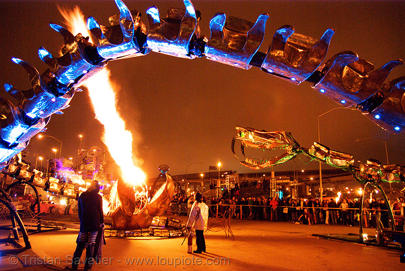 giant snake skeleton sculpture - crucible fire arts festival 2007 (oakland, california) - serpent mother, burning, fire art, fire arts festival, flames, flaming lotus girls, giant, sculpture, serpent mother, skeleton, snake, the crucible