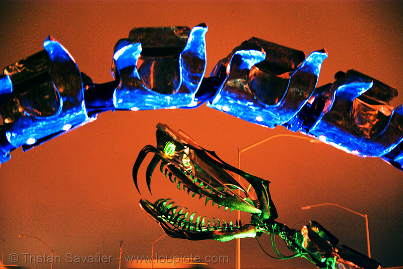 giant snake skeleton sculpture - head and vertebras - crucible fire arts festival 2007 (oakland, california) - serpent mother, art, burning, fire art, flames, flaming lotus girls, the crucible