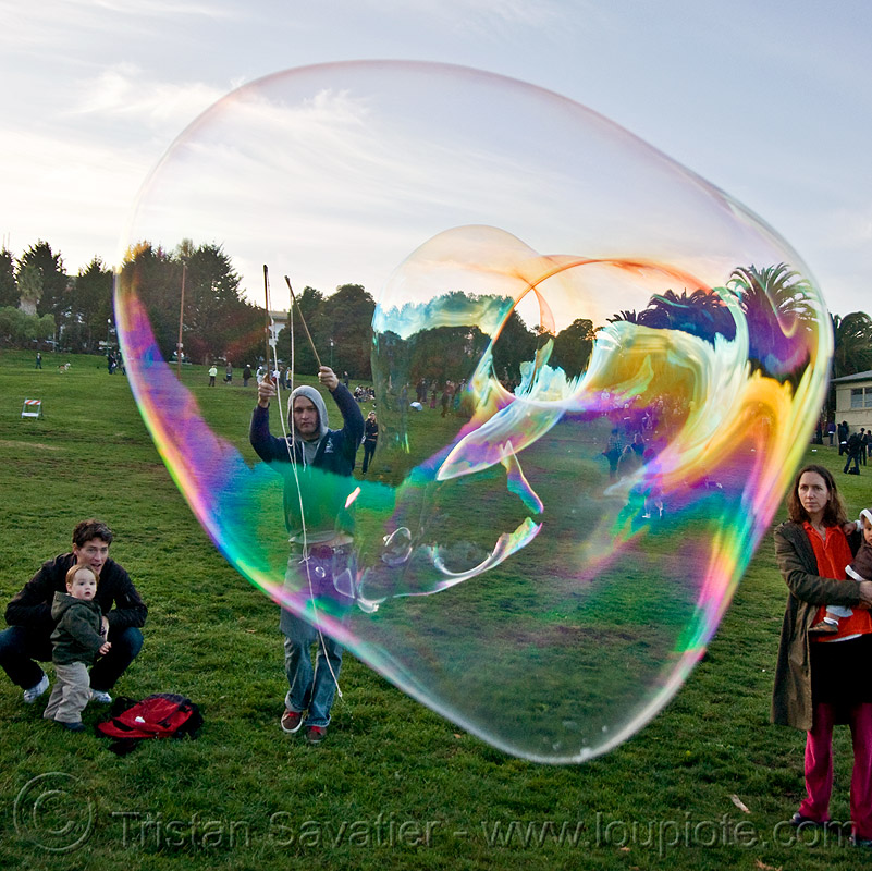 giant soap bubble, big bubble, giant bubble, iridescent, lawn, park, soap bubbles