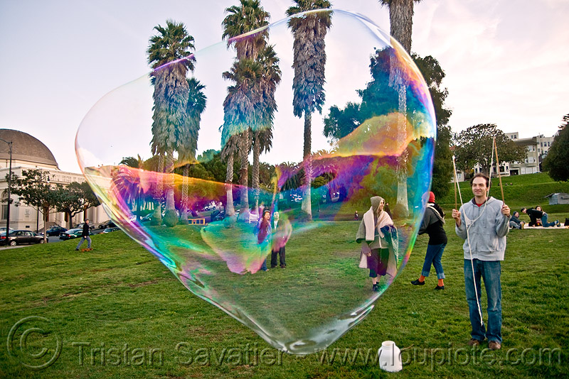 giant soap bubble in dolores park, big bubble, dolores park, giant bubble, iridescent, soap bubbles, turf