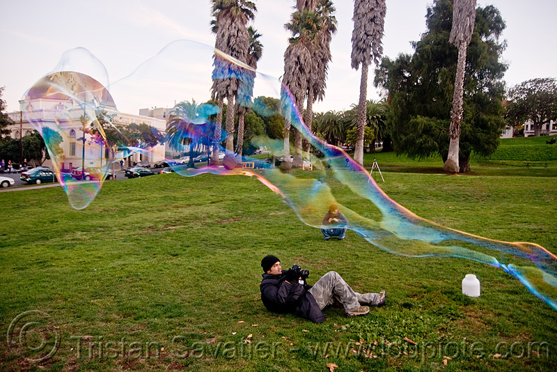 giant soap bubble - tube, big bubble, dolores park, giant bubble, iridescent, photographer, soap bubbles, tube, turf