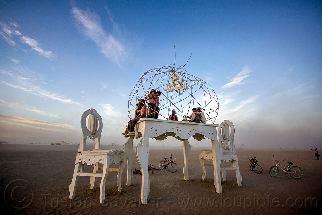 giant table and chairs - burning man 2015, art, art installation, brobdingnag, chandelier, people, sculpture, white
