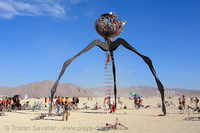 giant three-legged alien - burning-man 2006, art installation, burning man, giant, legs, michael christian, playa, three-legged alien