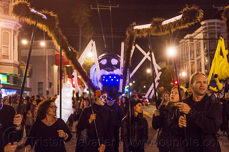 giant white spider puppet - dia de los muertos (san francisco), day of the dead, giant puppet, halloween, night