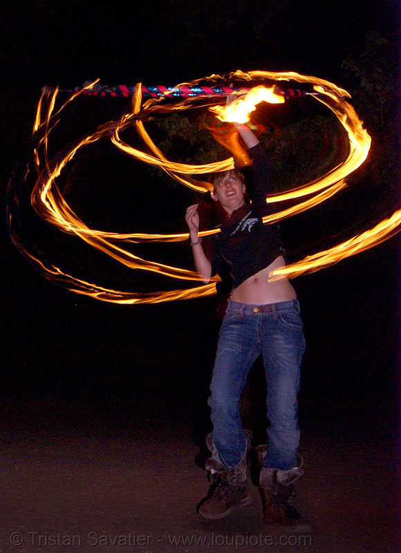 gina spinning a fire hula hoop (san francisco), fire dancer, fire dancing, fire hula hoop, fire performer, fire spinning, flame, hula hooping, long exposure, night, spinning fire
