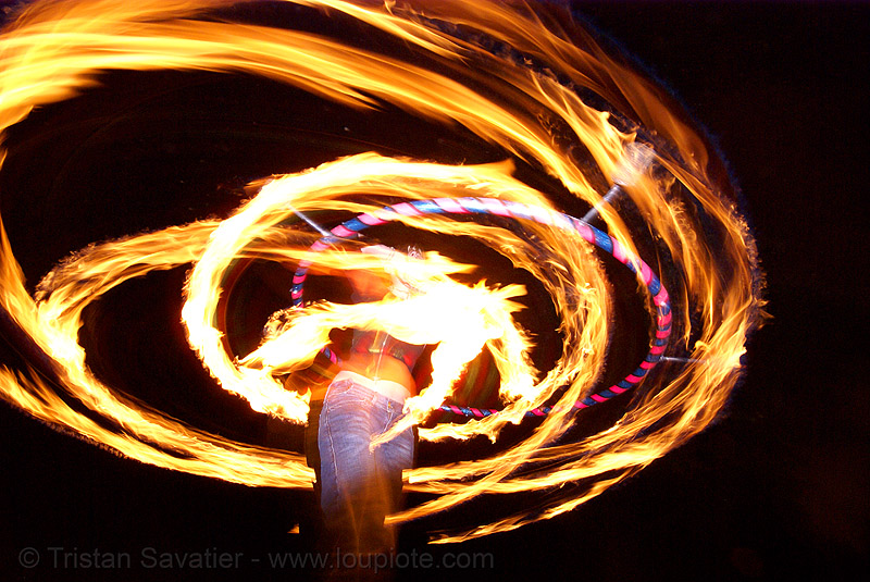 gina spinning a fire hula (san francisco), fire dancer, fire dancing, fire hula hoop, fire performer, fire spinning, flames, hula hooping, long exposure, night, spinning fire
