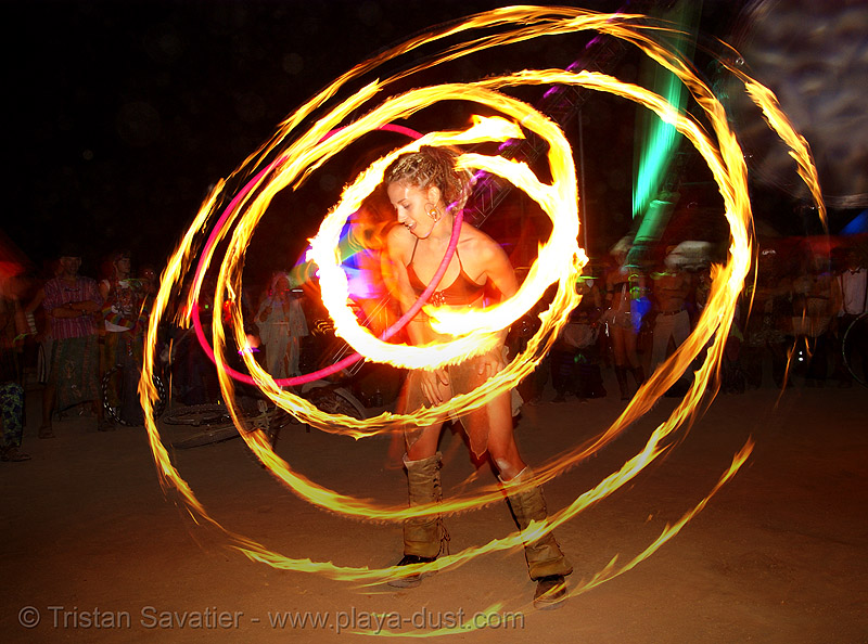 gina spinning a fire hulahoop - burning man 2007, circle, dancer, fire dancer, fire dancing, fire performer, fire spinning, flames, long exposure, night, people, ring, spinning fire