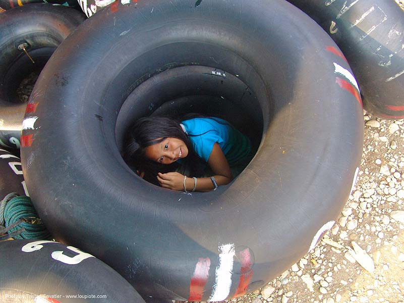 girl in tube - thailand, child, festival, inner tubes, kid, little girl, river fair, river tubing, songkran, tha ton, ประเทศไทย, สงกรานต์