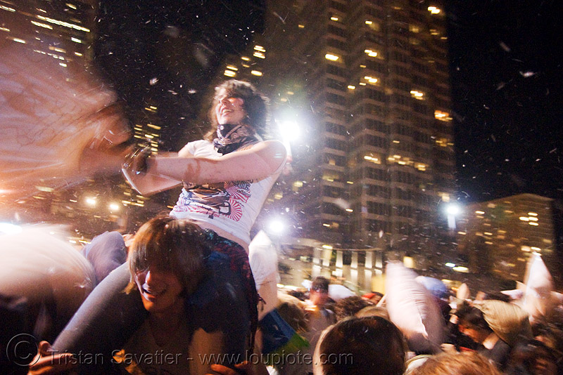 girl on a guy's shoulders at the  great san francisco pillow fight 2008, down feathers, marisa, night, people, pillow fight club, pillows, world pillow fight day