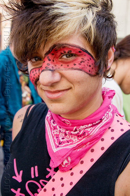 girl with face paint and pink bandana, facepaint, how weird festival, people, woman