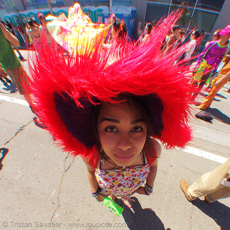fuzzy hat, ashley, festival, fisheye, fluffy, how weird festival, people, red, red hat, woman