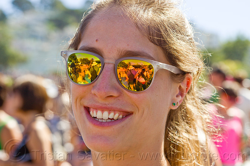 girl with mirror sunglasses, dolores park, gay pride, gay pride festival, people, reflection, woman