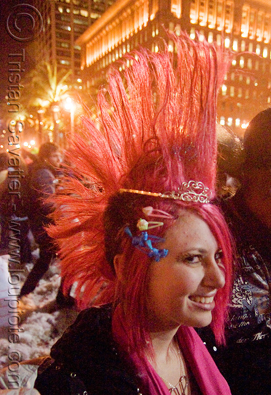 girl with pink mohawk hair - the great san francisco pillow fight 2009, down feathers, mohawk hair, night, pillows, pink hair, pink mohawk, woman, world pillow fight day