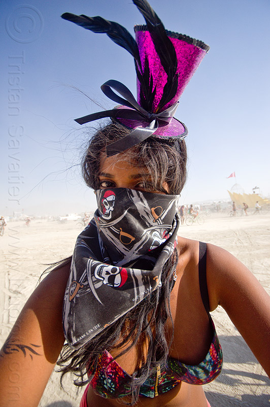 girl with purple cocktail hat in white out - burning man 2013, bandana, dust storm, goggles, mask, people, purple hat, woman