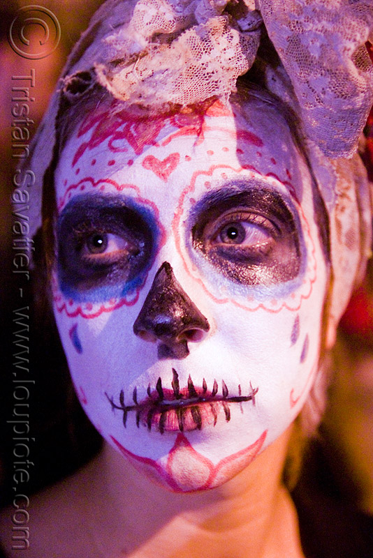 girl with white skull makeup - dia de los muertos - halloween (san francisco), day of the dead, dia de los muertos, face painting, facepaint, halloween, night, sugar skull makeup, woman