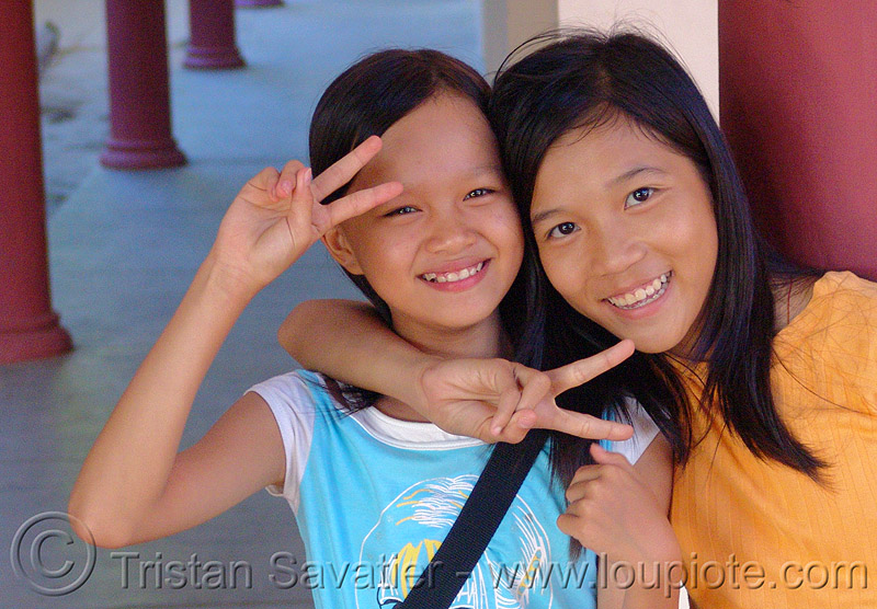 girls - children - vietnam, kids, little girl, peace sign, people, two, v sign