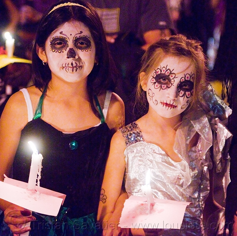 girls with skull makeup - dia de los muertos - halloween (san francisco), candles, children, day of the dead, dia de los muertos, face painting, facepaint, girls, halloween, kid, night, sugar skull makeup, two, woman