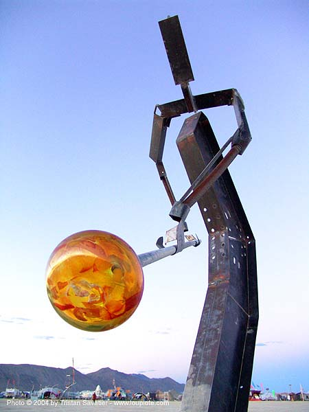 glass blower - sculpture by ron seivertson - burning-man 2004, art installation, burning man, glass blower, ron seivertson, sculpture