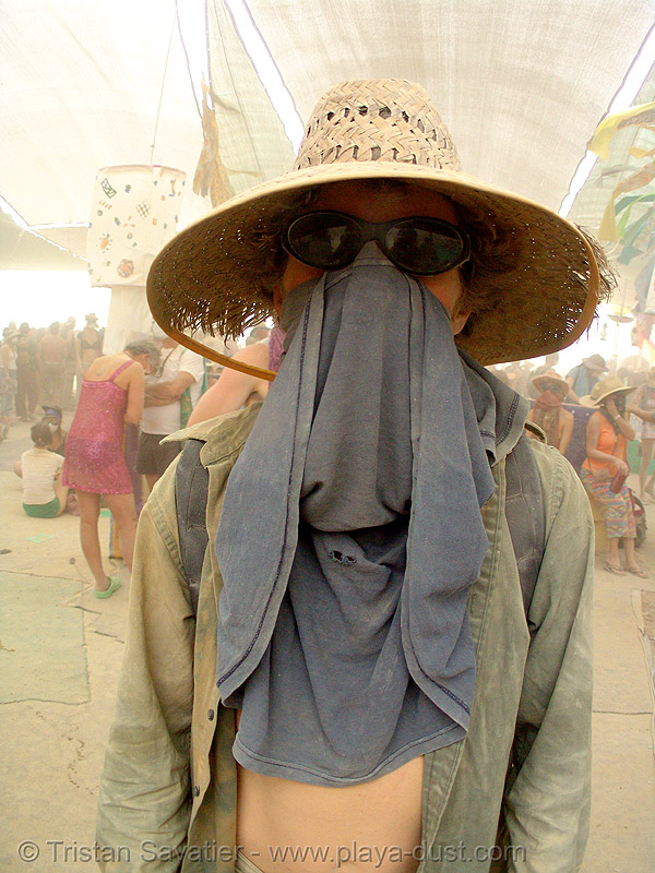 glenn, surviving the dust storm in center camp - burning man 2007, burning man, dust storm, glenn, sunglasses