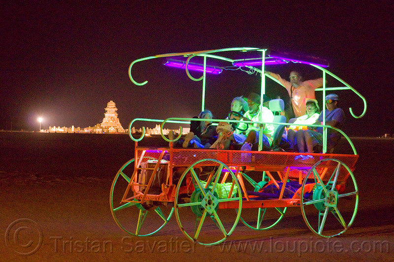 glowing art car - burning man 2012, burning man, glowing, mutant vehicles, night, unidentified art car, wagon