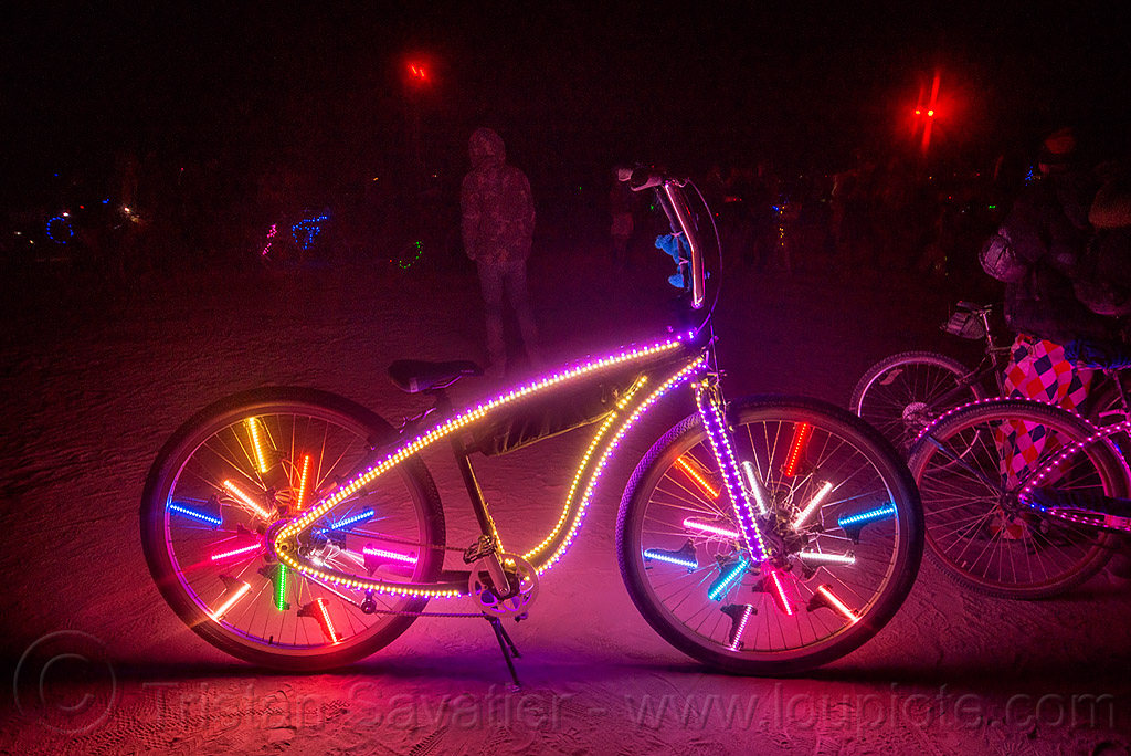 glowing bicycle with LED lights - burning man 2015, bicycle, bike, burning man, eric severn, glowing, led lights, night