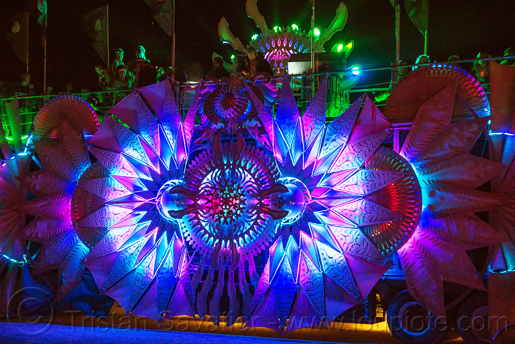 glowing color-morphing LED light decoration on music art car - burning man 2016, burning man, night, rolling root art car
