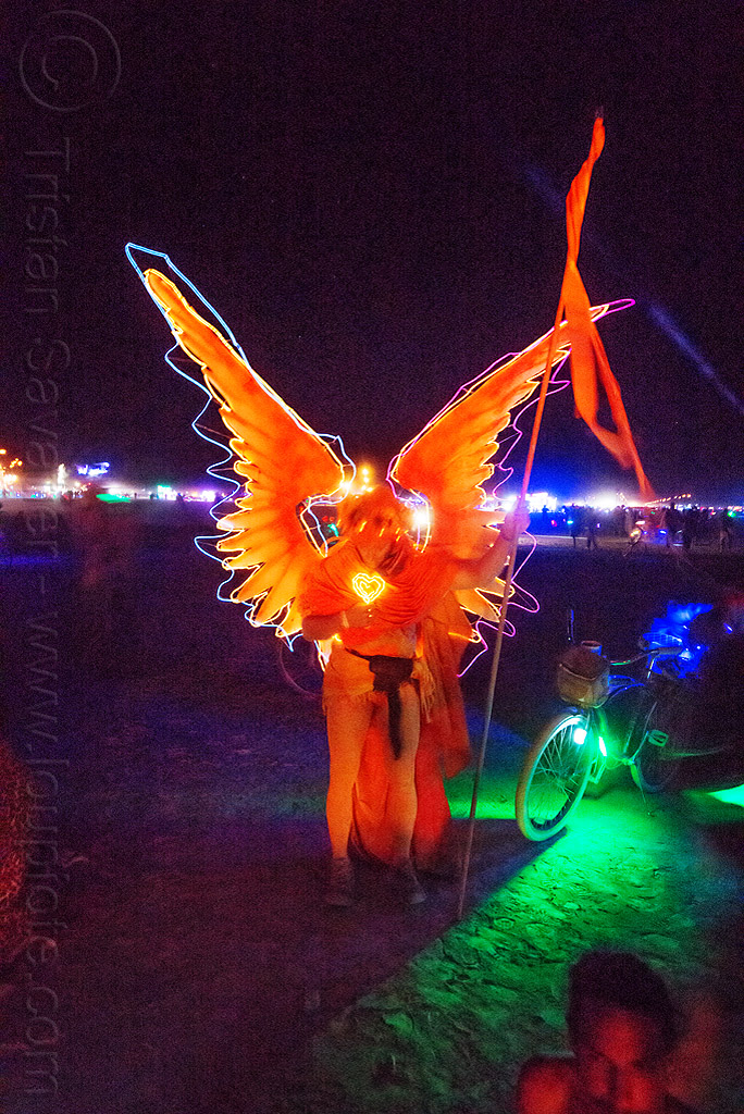 glowing EL-wire angel costume - burning man 2015, angel wings, flag, night, orange, people