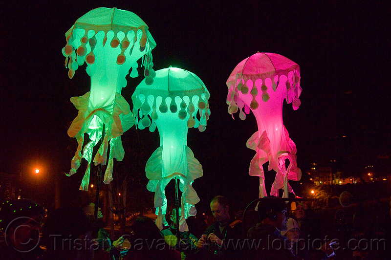 glowing jellyfishes - billion jelly bloom, art, bjb, dolores park, night, performance, performance art